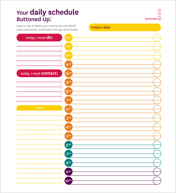 Daily Schedule Template For Word printable schedule template