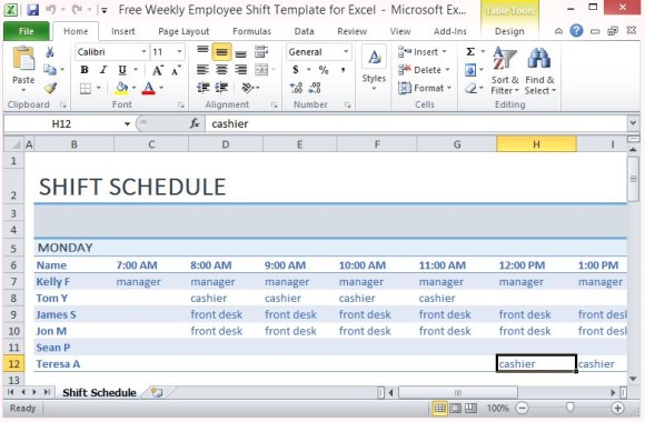 Employee Shift Schedule Template Excel printable schedule template