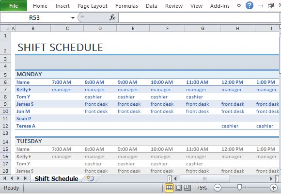 Employee Shift Schedule Template For Excel printable schedule template