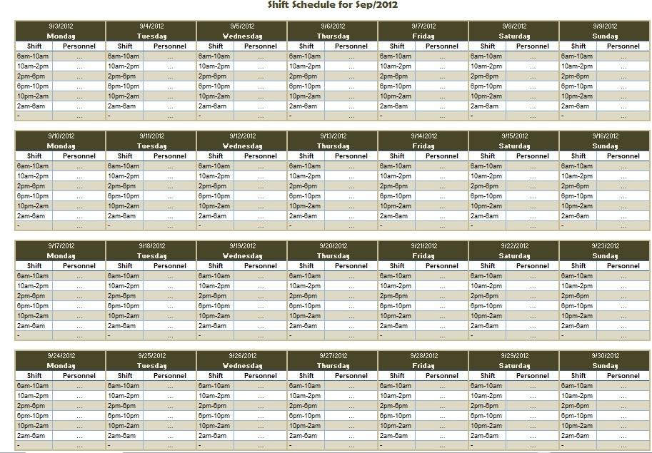 Employee Work Schedule Template Monthly printable schedule template