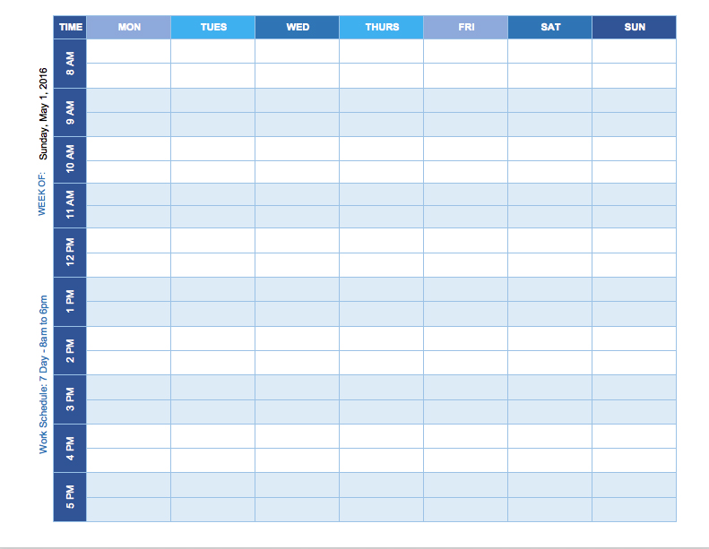 Excel Template For Weekly Schedule printable schedule template