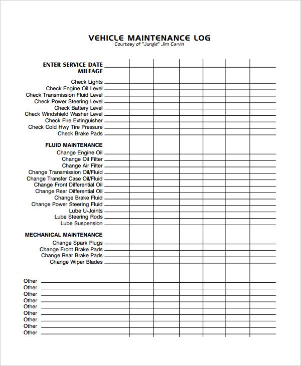 Forklift Maintenance Schedule Template printable schedule template