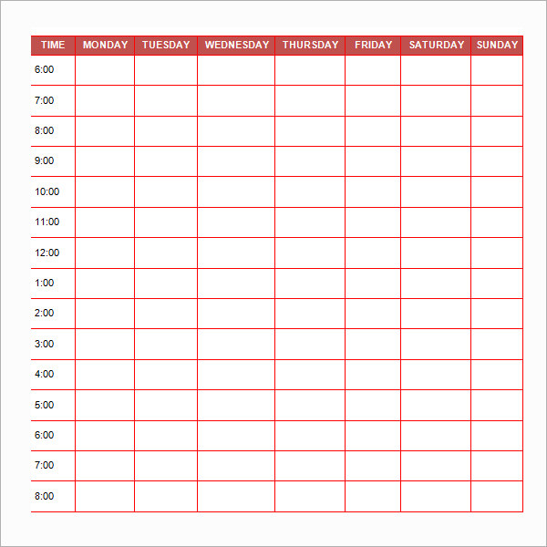 Free Printable Schedule Template Daily printable schedule template