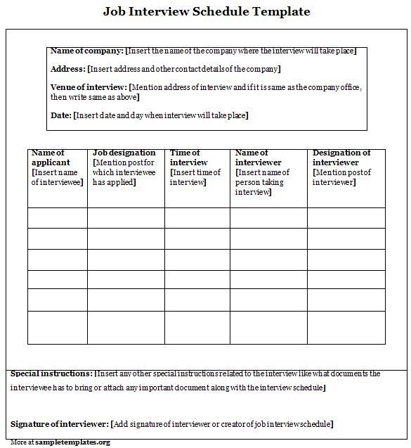 Interview Schedule Template Excel printable schedule template