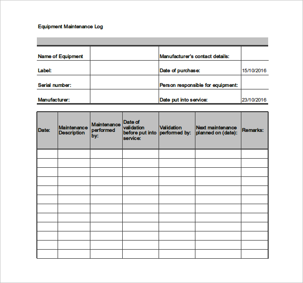 Machinery Maintenance Schedule Template Excel printable schedule