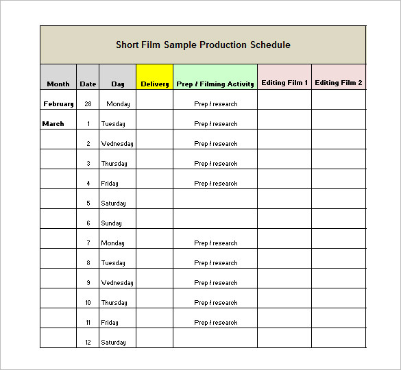 Production Schedule Template Film printable schedule template