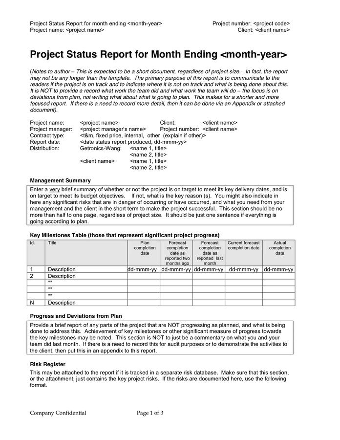 progress report template doc