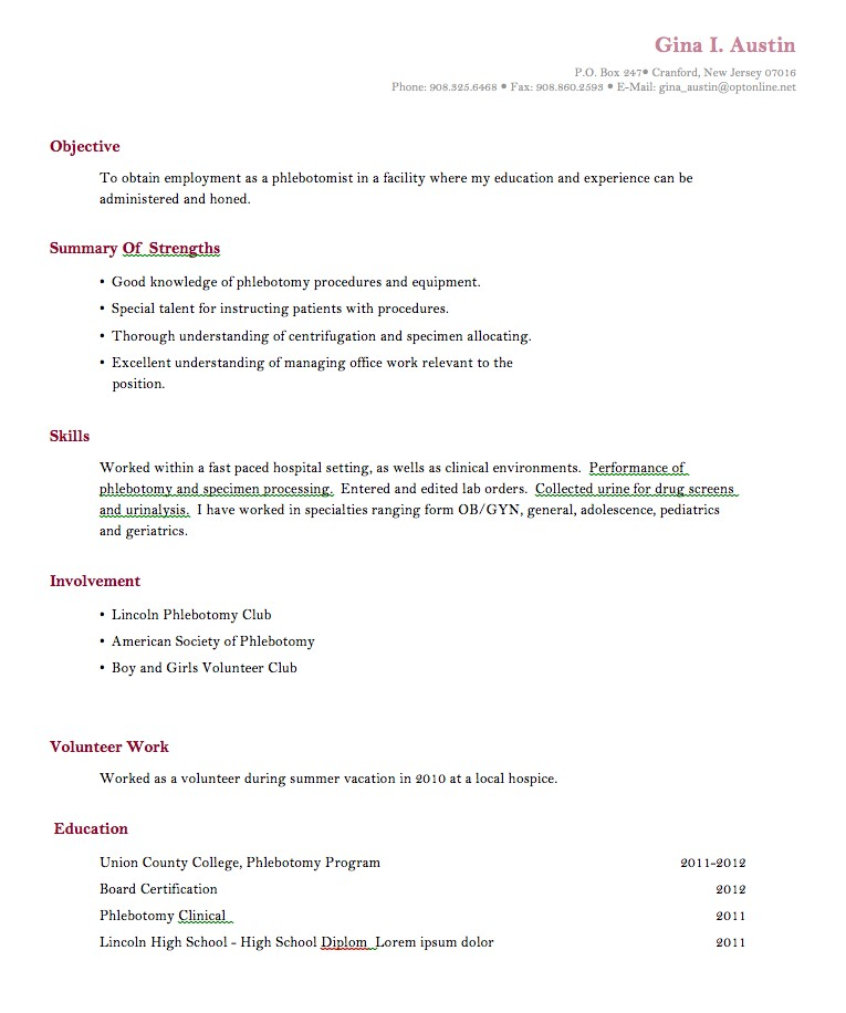 Resume Template For College Students With No Experience printable