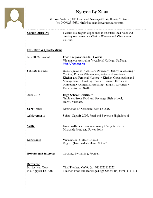 resume for undergraduate student with no work experience