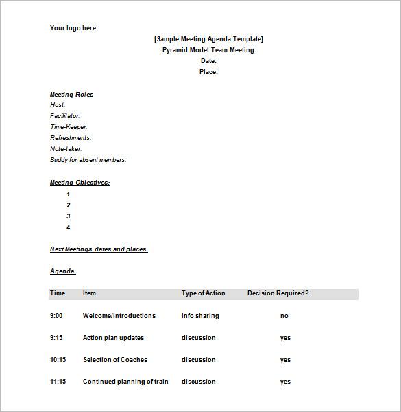 Schedule Agenda Template printable schedule template