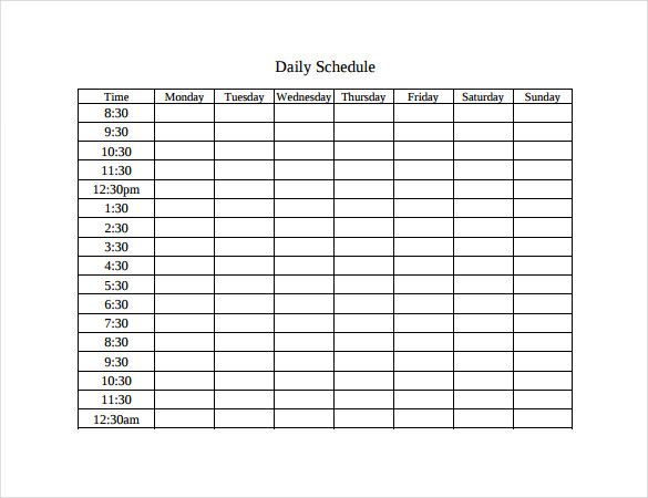 Schedule Table Template printable schedule template