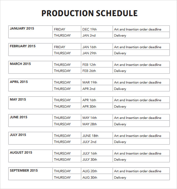 Shooting Schedule Template Pdf printable schedule template