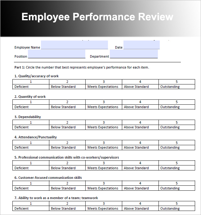Template For Employee Review printable schedule template