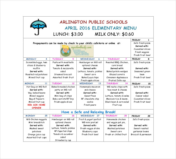 Template For School Lunch Menu printable schedule template