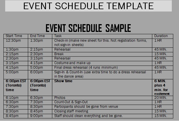 Template Schedule Of Events printable schedule template