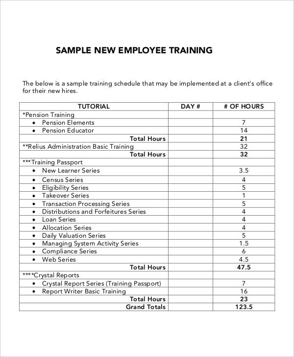 Training Schedule For Employees Template printable schedule template