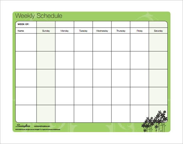 Word Schedule Template Weekly printable schedule template