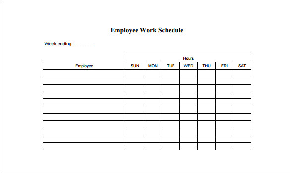 Work Schedule Template Pdf printable schedule template