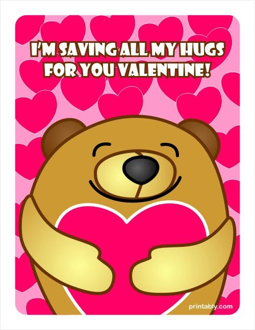Bear Hugging a Heart Valentine\u0027s Day Cards Printably