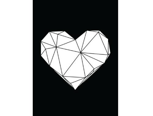Geometric Heart Minimalist Print Poster Black and White Typography