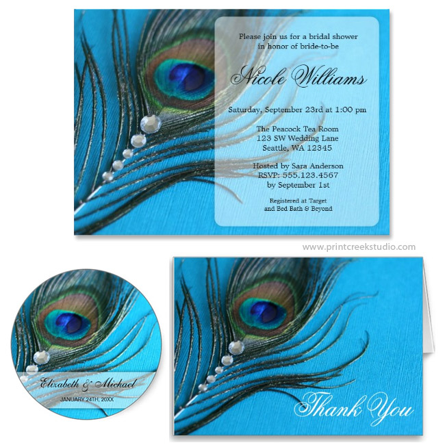 Jewel Peacock Feather Bridal Shower Invitation - Print Creek Studio Inc