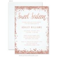 Rose Gold Faux Glitter Sweet 16 Invitations - Print Creek ...
