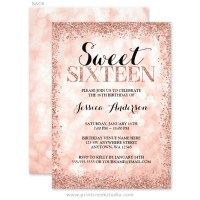 Rose Gold Faux Glitter Lights Sweet 16 Invitations - Print ...