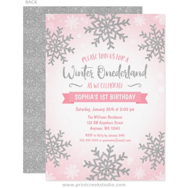 Pink Silver Winter ONEderland 1st Birthday Invitations - Print Creek