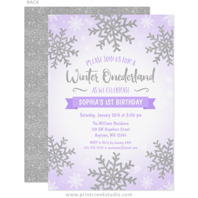 Purple Silver Winter ONEderland 1st Birthday Invitations - Print