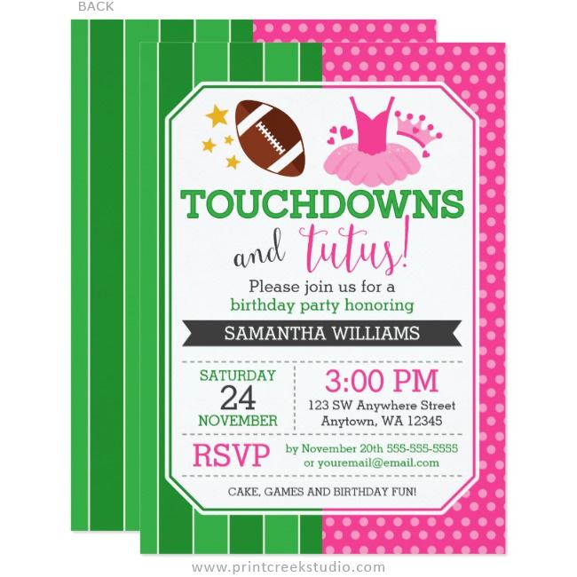 Touchdowns and Tutus Birthday Invitations - Print Creek Studio Inc