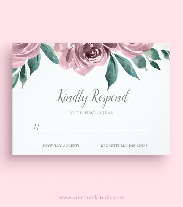 Wedding RSVP Cards - Print Creek Studio Inc