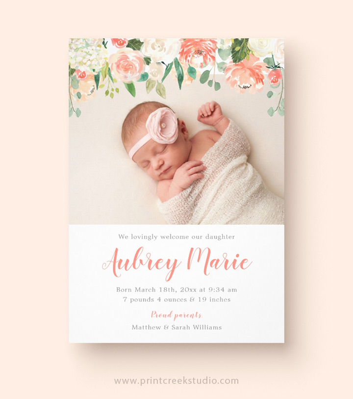 Birth Announcements - Print Creek Studio Inc - Baby Girl Birth Announcements