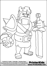 Clash Of Clans Barbarian King Coloring Page