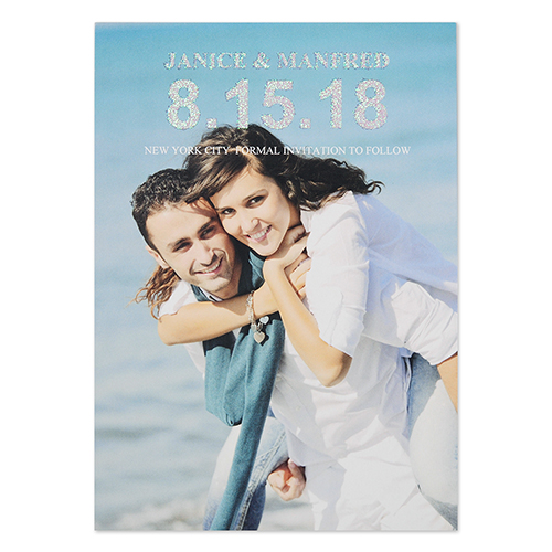 Mod Glitter Personalized Photo Wedding Announcement Cards