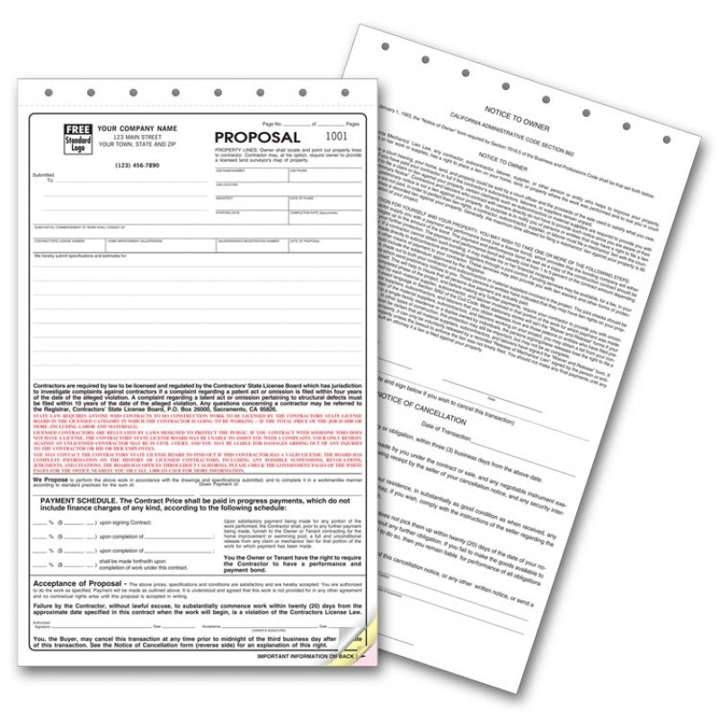 California State Contract Proposal Forms Free Shipping - free proposal forms
