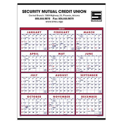 Big Numbers Full-Year Calendars, Non-Laminated PrintGlobe