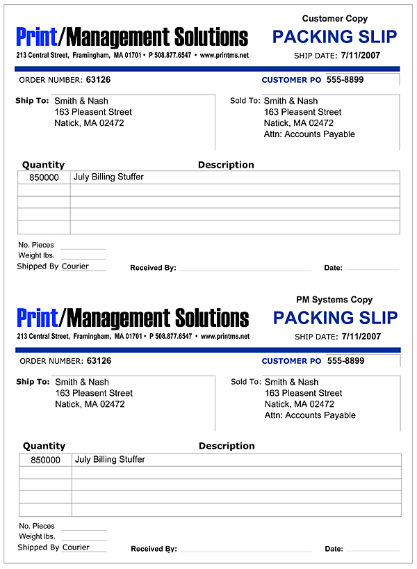 Print Management Solutions, Customer Packing Slip - packing slip