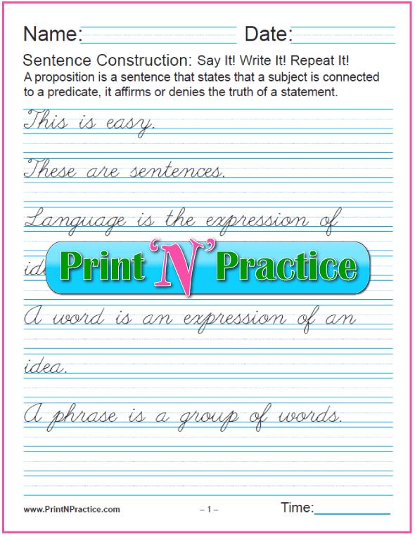 cursive practice paper