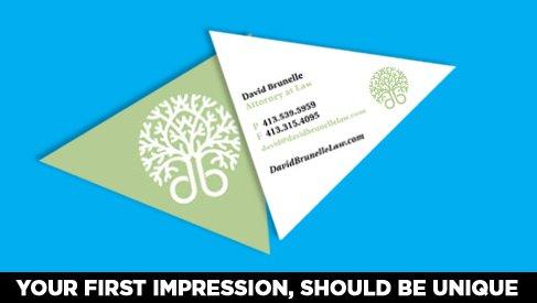 Traingle Shaped Business Card printed full color - PrintPapa