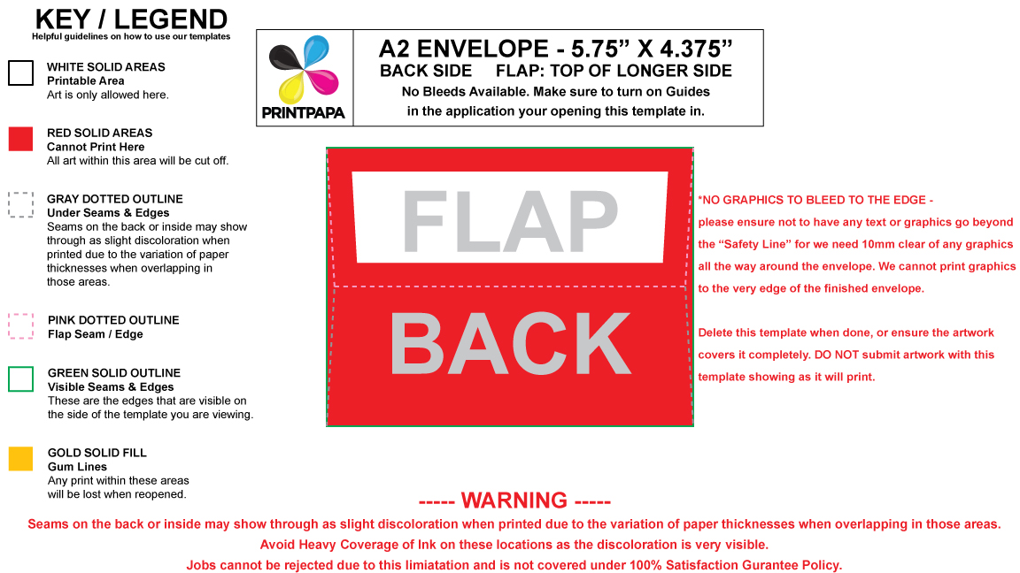 Find a Printing Template  Printpapa - sample a2 envelope template