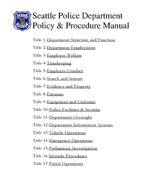Seattle Pd Policy and Procedure Manual 2007 Prison Legal News