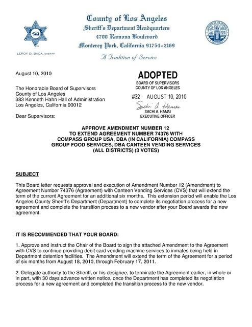 La County Amendment to Compass Food Service Contract 2010 Prison