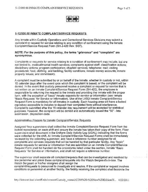 La County Grievance Procedures and Forms Rev2008 Prison Legal News