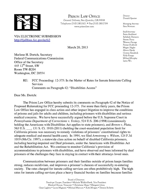Prison Law Office Comment on Wright Petition Phone Justice 2013 - petition office