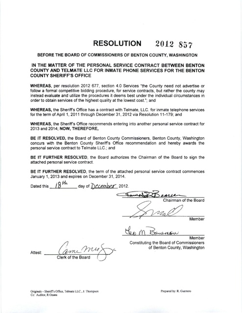 Benton County, WA 2012 Inmate Phone Contract with Telmate Prison - personal service contract