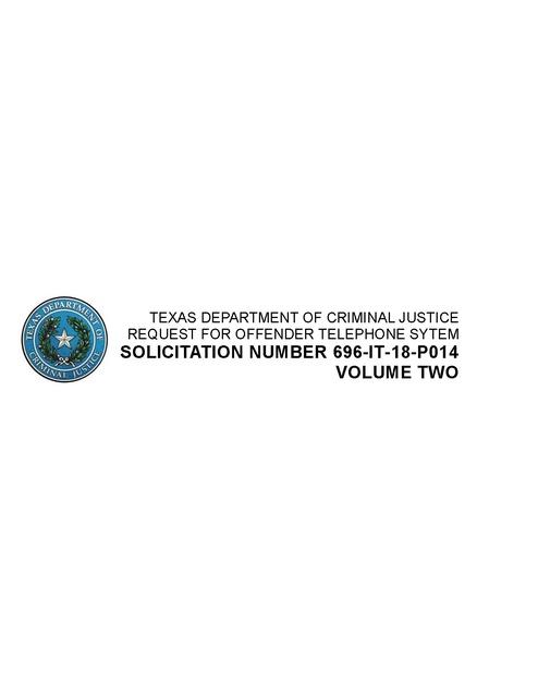 Texas DCJ - CenturyLink bid Volume 2 Prison Phone Justice