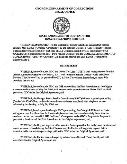 GA Contract with GTL -- Amendment 6 -- 2008 Prison Phone Justice - generic contract for services