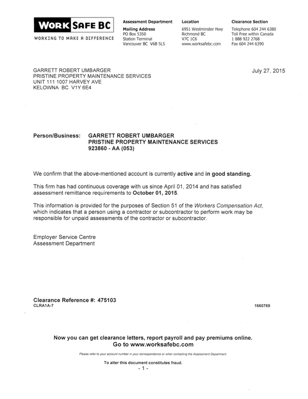 Proof Of Insurance - Pristine Property Maintenance Services - proof of rent letter from landlord sample