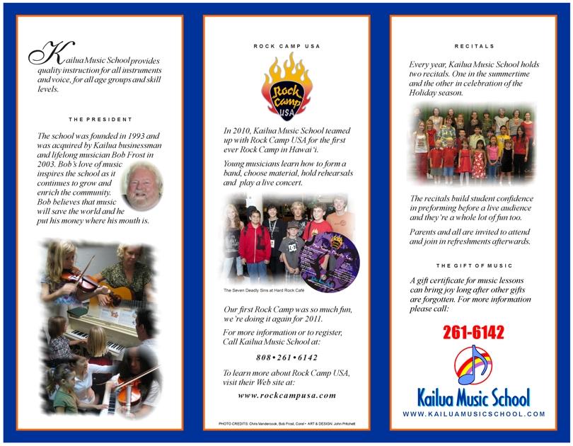 Brochure design for Kailua Music School, corporate brochure design