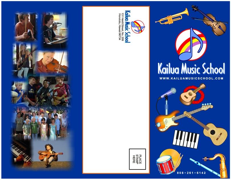 Brochure design for Kailua Music School, corporate brochure design - music brochure